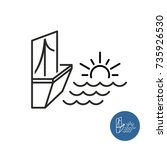 seaside view icon. linear style ... | Shutterstock .eps vector #735926530
