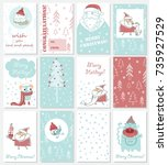 collection of christmas... | Shutterstock .eps vector #735927529