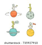 sketch set of astronauts ... | Shutterstock .eps vector #735927910