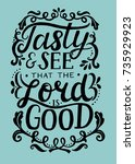 hand lettering tasty and see... | Shutterstock .eps vector #735929923
