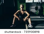 young athletic woman in...   Shutterstock . vector #735930898