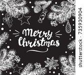 calligraphy lettering merry...   Shutterstock .eps vector #735930904