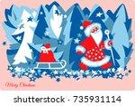 santa claus merry christmas...   Shutterstock .eps vector #735931114