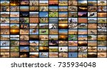 a variety of images of african...   Shutterstock . vector #735934048