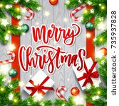 merry christmas  greeting card ....   Shutterstock .eps vector #735937828