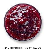 bowl of blackberry jam isolated ... | Shutterstock . vector #735941803