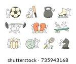 cartoon set of sketch little... | Shutterstock .eps vector #735943168