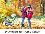 two little kids boys  best... | Shutterstock . vector #735943504