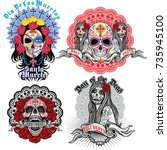 holy death  day of the dead ... | Shutterstock .eps vector #735945100