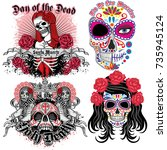 holy death  day of the dead ... | Shutterstock .eps vector #735945124