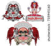 holy death  day of the dead ... | Shutterstock .eps vector #735945160