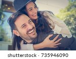 loving couple have fun outside. ... | Shutterstock . vector #735946090