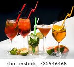 cocktails on black and white... | Shutterstock . vector #735946468