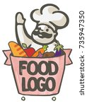 food logo man character with | Shutterstock .eps vector #735947350
