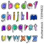 artistic small alphabet   Shutterstock .eps vector #73594822