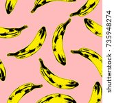 Seamless pop art style seamless pattern of yellow and black dark bananas randomly distributed on pink background. Vector Illustration.