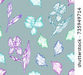 floral seamless pattern with... | Shutterstock . vector #735949714