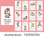 calendar 2018. cute magic... | Shutterstock .eps vector #735950704