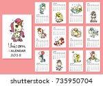 calendar 2018. cute magic... | Shutterstock .eps vector #735950704
