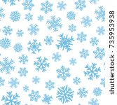 seamless pattern with blue... | Shutterstock .eps vector #735953938