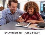 teacher and schoolboy using... | Shutterstock . vector #735954694