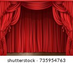 closed red stage curtain... | Shutterstock .eps vector #735954763