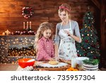 merry christmas and happy... | Shutterstock . vector #735957304