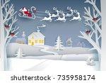 paper santa claus sleigh... | Shutterstock .eps vector #735958174