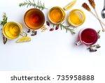 herbal tea collection prepared...   Shutterstock . vector #735958888