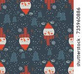 seamless pattern with snowmen... | Shutterstock .eps vector #735960886