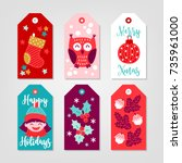 christmas gift tags with socks  ... | Shutterstock .eps vector #735961000