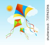 flying kite and clouds on a... | Shutterstock .eps vector #735963346