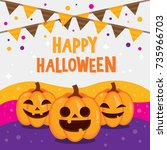 happy halloween background with ... | Shutterstock .eps vector #735966703