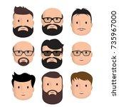 men male human face head hair... | Shutterstock .eps vector #735967000