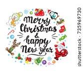 christmas calligraphy lettering ...   Shutterstock .eps vector #735969730