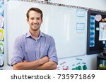 portrait of young white male... | Shutterstock . vector #735971869