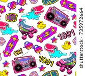 seamless pattern with colorful... | Shutterstock .eps vector #735972664