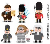 set of cartoon characters ... | Shutterstock .eps vector #735973210