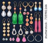 realistic earrings jewelry... | Shutterstock .eps vector #735981166