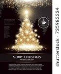 christmas tree. elegant card...   Shutterstock .eps vector #735982234