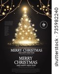 christmas tree. elegant card... | Shutterstock .eps vector #735982240