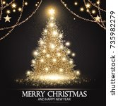 christmas tree. elegant card... | Shutterstock .eps vector #735982279