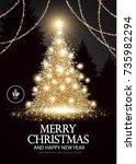 christmas tree. elegant card...   Shutterstock .eps vector #735982294