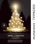 christmas tree. elegant card... | Shutterstock .eps vector #735982303