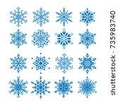 set of 16 decorative blue... | Shutterstock .eps vector #735983740