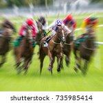 horse race speed motion blur... | Shutterstock . vector #735985414