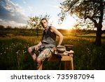 young man potter making ceramic ... | Shutterstock . vector #735987094