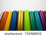 vinyl rolls of many colors | Shutterstock . vector #735988933