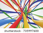 colorful bright wires on the... | Shutterstock . vector #735997600