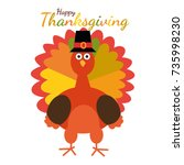 happy thanksgiving. greeting... | Shutterstock .eps vector #735998230